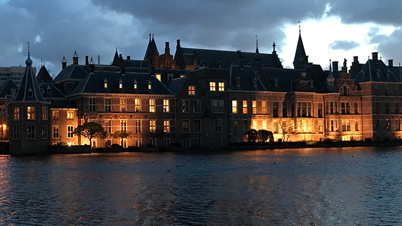 Binnenhof at dusk in The Hague Holland Netherlands