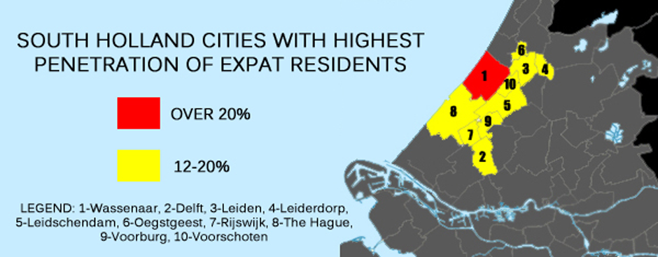 map showing Dutch cities with highest percent expat reisdents