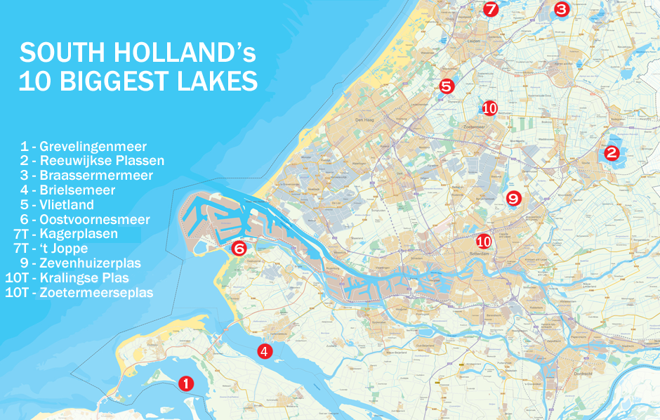 map showing largest lakes in South Holland Netherlands