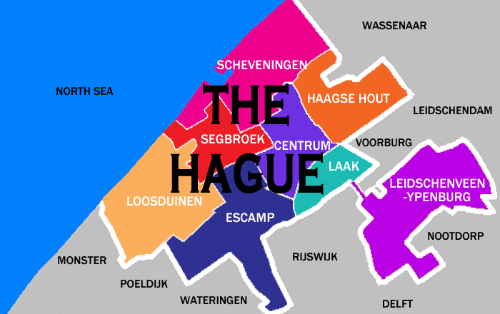 map of The Hague city districts