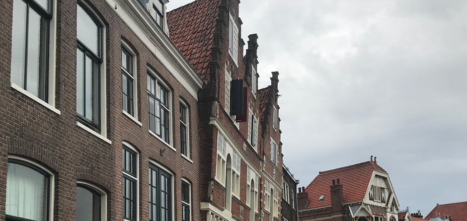Dutch houses leaning forward in Netherlands