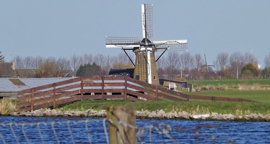 Dutch-windmills-by-Kaag-lakes-in-Holland