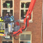Dutch insurance inspectors checking out apartment destroyed by fire in The Hague