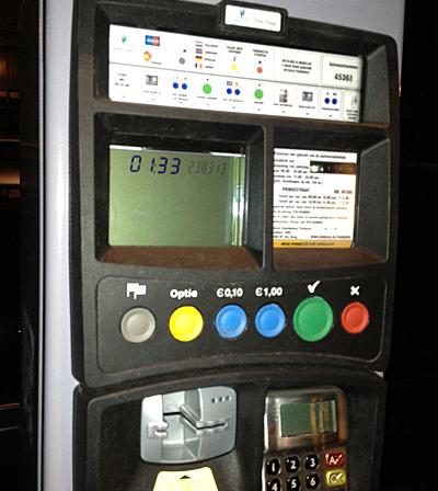 Dutch parking ticket machine in The Hague Netherlandsay