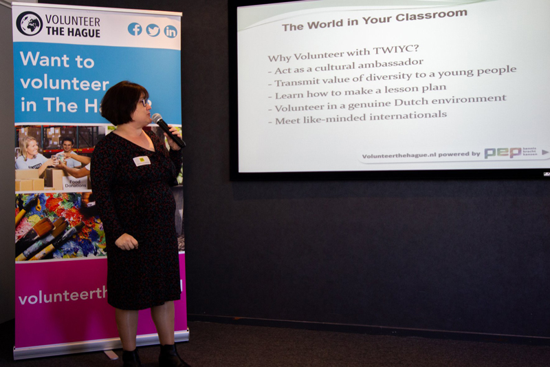 Lucie Cunningham giving presentation on 'The World In Your Classroom' in The Hague
