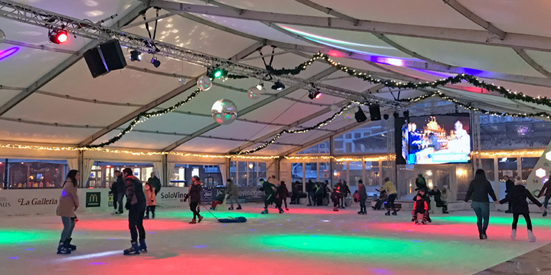 temporary holiday ice skating rink in The Hague Netherlands
