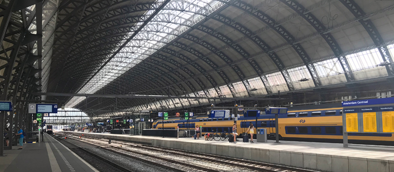 Amsterdam Central train station in the Netherlands is the second busiest in terms of daily passenger traffic