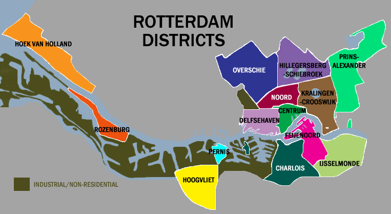 Rotterdam Netherlands city residential district map overview