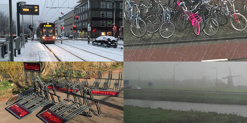 severe weather conditions in Holland Netherlands - snow wind fog hail