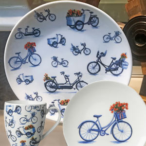 Delft Blue bicycle-print plates mugs