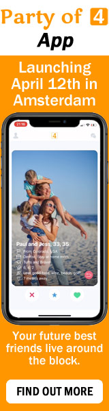 Party of 4 expat couples app Amsterdam Netherlands